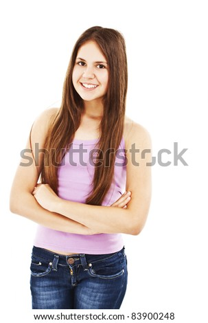 Portrait of a girl teenager. Isolated over white background. - stock photo