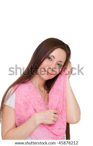 portrait of a girl with a scarf isolated on white background - stock photo