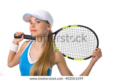 portrait of a girl with a tennis racket on a white background - stock photo