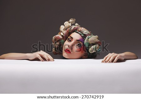 Portrait of a girl with an unusual make-up bright - stock photo