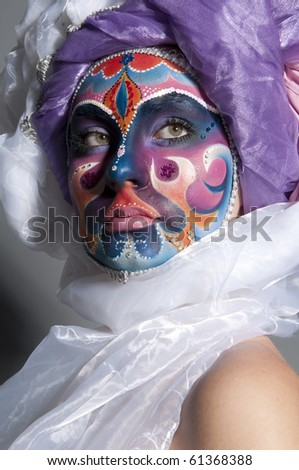 Portrait of a girl with artistic make-up