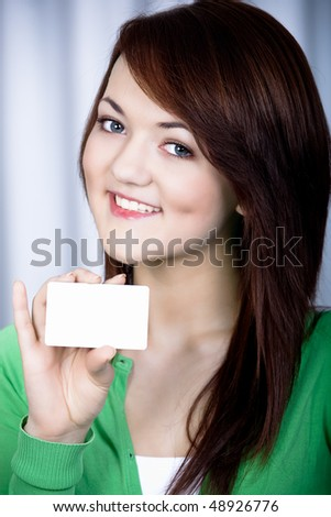 portrait of a girl with bank card