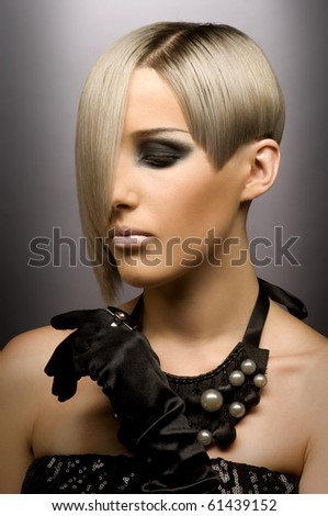 Portrait of a girl with beautiful blonde hair - stock photo