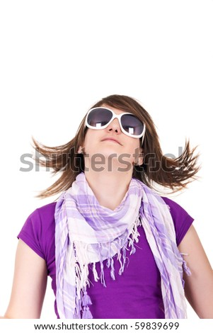 portrait of a girl with cool hairstyle and sunglasses