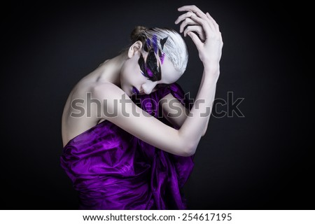 portrait of a girl with creative make-up  - stock photo