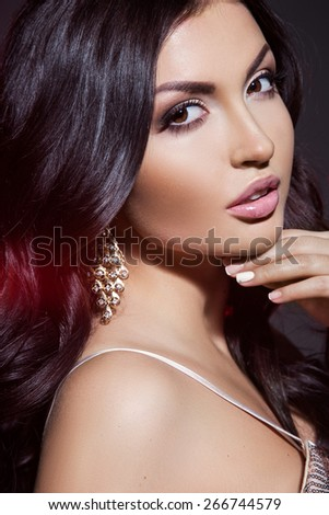 portrait of a girl with Earring - stock photo