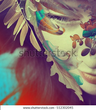 portrait of a girl with flowers. double exposure.