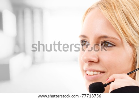 Portrait of a girl with headset - stock photo