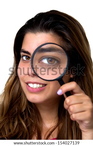 portrait of a girl with magnifier