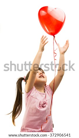 portrait of a girl with red heart balloon on a white background - stock photo