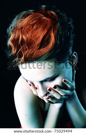 portrait of a girl with red nails