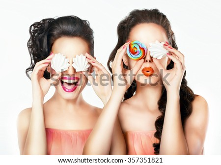 Portrait of a girl with sweets. Funny portrait. - stock photo
