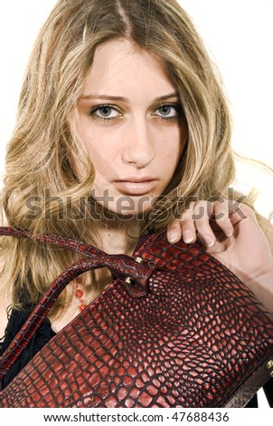 Portrait of a glamorous woman with  crocodile leather bag - stock photo