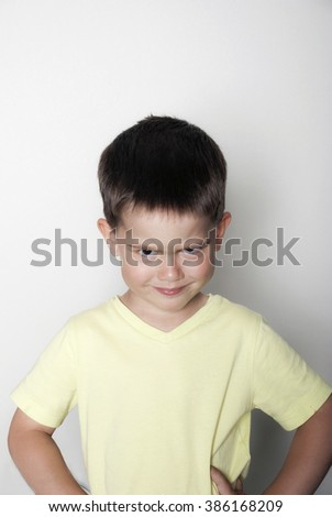 Portrait of a gloomy boy  - stock photo