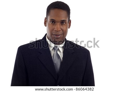 Portrait of a good looking African American business man isolated white background - stock photo