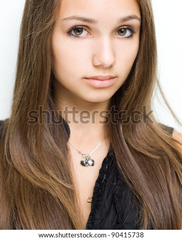 Portrait of a gorgeous confident young brunette girl.