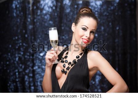 Portrait of a gorgeous festive young brunette woman.  - stock photo