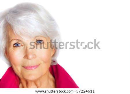 Portrait of a graciously senior woman with white hair and pink blouse on white background - stock photo