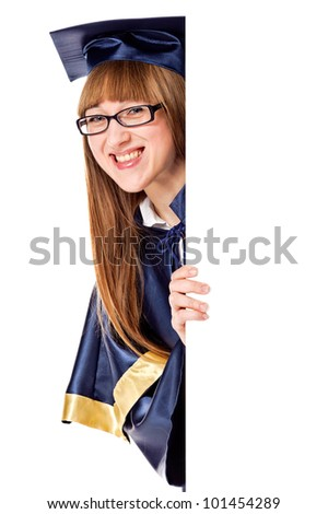Portrait of a graduating woman holding a display for text. Isolated over white - stock photo
