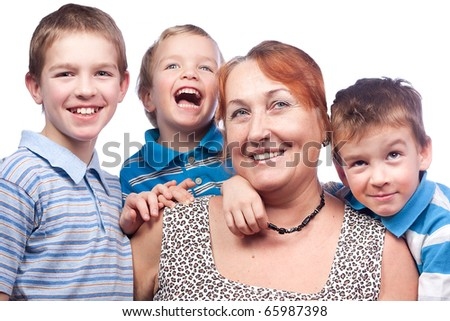 Portrait of a grandmother and four  merry grandchildren - stock photo