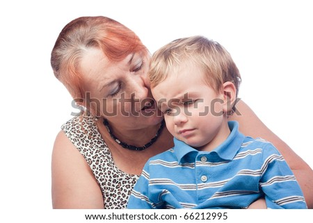 Portrait of a grandmother and grandson - stock photo