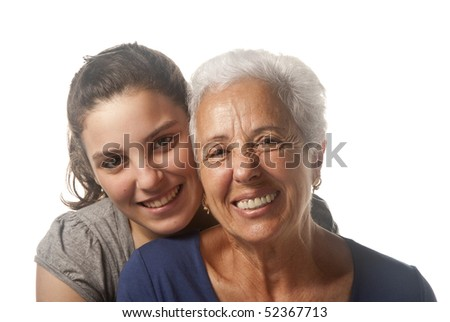 Portrait of a grandmother and her granddaughter - stock photo