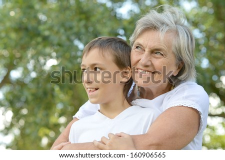 Portrait of a grandson with his grandmother