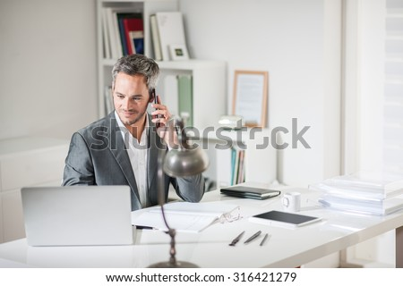 Portrait of a grey hair businessman with beard speaking on his smartphone while working on a computer at his desk. He is in a office his notebook in front of him like an insurance or bank manager - stock photo