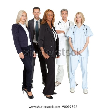 Portrait of a group of confident working people isolated over white background - stock photo