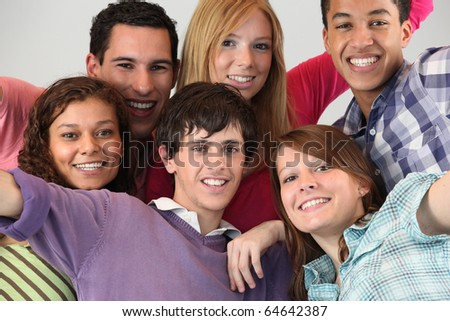 Portrait of a group of friends - stock photo