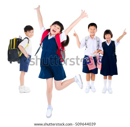 Portrait of a group of primary students on white background