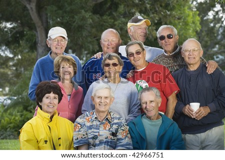 Portrait of a group of senior men and senior women. Horizontally framed shot. - stock photo