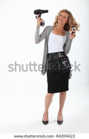 portrait of a hairstylist - stock photo
