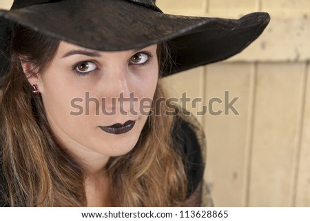 portrait of a halloween witch - stock photo