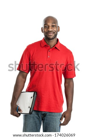 Portrait of a handsome black man camp director holding a clipboard isolated on white background