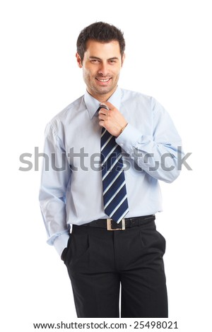 Portrait of a handsome businessman isolated on a white background - stock photo