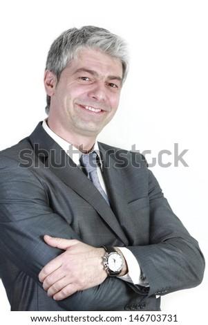 Portrait of a handsome businessman smiling.../I succeeded - stock photo