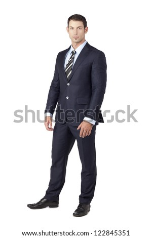 Portrait of a handsome businessman standing on a white background