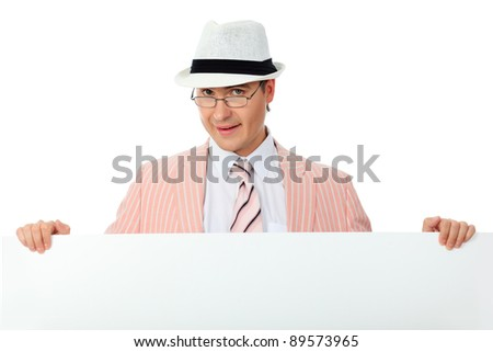 Portrait of a handsome businessman with white board. Isolated over white background.