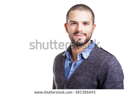 Portrait of a handsome casual man smiling, isolated on white background - stock photo