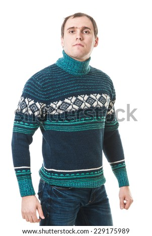 Portrait of a handsome casual mature man standing in sweater. Male sweater isolated on the white. young businessman isolated on white background. - stock photo