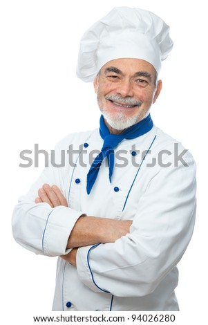 Portrait of a handsome chef isolated on white - stock photo