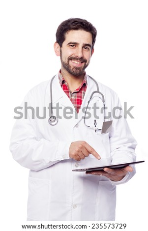 Portrait of a handsome doctor with tablet computer, isolated on white background