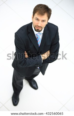 Portrait of a handsome elderly business man standing isolated on - stock photo