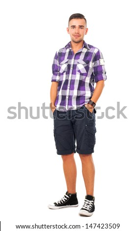 Portrait of a handsome guy with a shirt over a white background