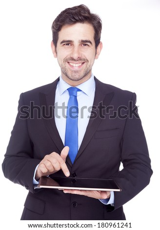 Portrait of a handsome latin business man with digital tablet, isolated on a white background - stock photo