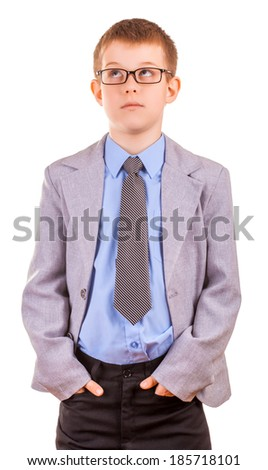 Portrait of a Handsome Little Boy in a Business Suit - stock photo