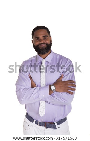 Portrait of a handsome male with his arms folded isolated on white