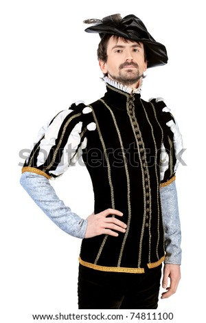 Portrait of a handsome man grandee in 16th century costume. Isolated over white background. - stock photo