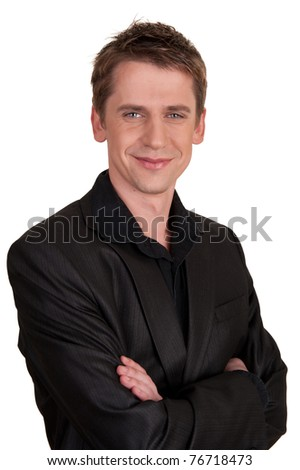 portrait of a handsome man in a suit - stock photo